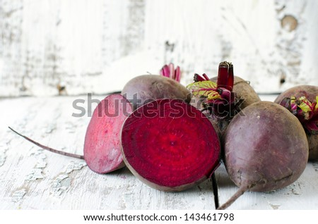 Fresh beets in a basket. Selective focus - stock photo
