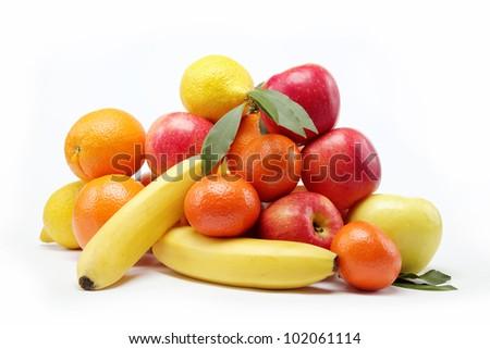 Fresh citrus fruits isolated on a white background. - stock photo