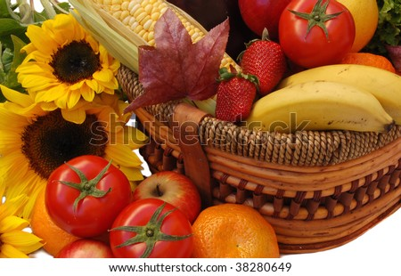 fresh fruits and vegetables in a basket