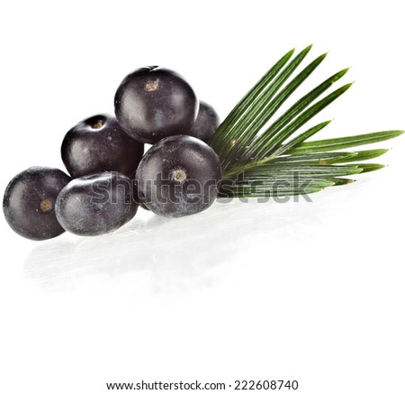 fresh fruits with palm leaves isolated on white background. - stock photo