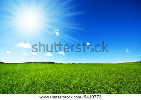 fresh green grass with bright blue sky and sunburst background - stock photo