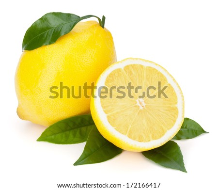 Fresh lemons with leaves isolated on the white background, clipping path included.