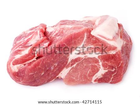 fresh pork isolated on white background - stock photo