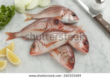 Fresh raw small red snappers on the table - stock photo