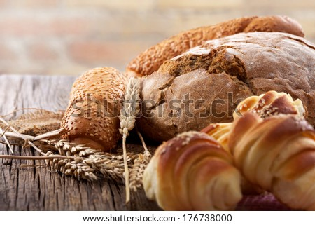 fresh rolls and bread - stock photo