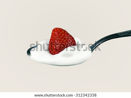 fresh strawberries and cream on a silver spoon closeup