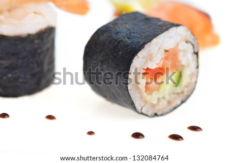 fresh sushi rolls and drop of sauce on  tablefresh sushi rolls and drop of sauce on  table