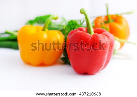 Fresh sweet pepper isolated.peppers isolated on white background - stock photo