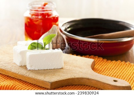 fresh white cheese - stock photo