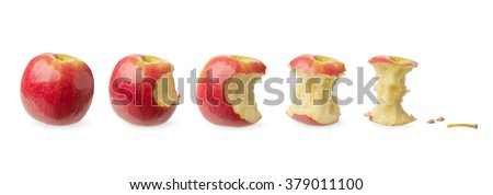 Fresh whole apple, slightly bitten, tested likely to be eaten, nearly eaten, already eaten isolated on white background. Concept of the consumption, expenditure, expense and stages of a process - stock photo