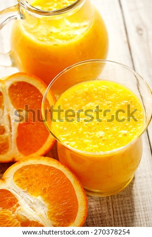 freshly pressed orange juice - stock photo