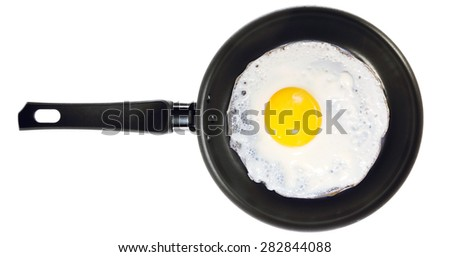 Fried egg in the frying pan - stock photo