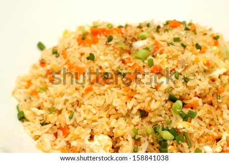 fried rice isolated in solid white background.