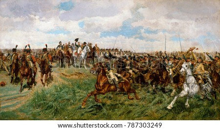 1807, FRIEDLAND, by Ernest Meissonier, 1861-75, French painting, oil on canvas. The Charge of the French Cuirassiers at Friedland on June 14, 1807, is depicted in intricate realist detail in a paintin