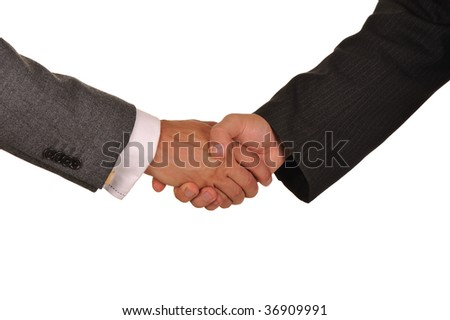 Friendly hand shake of men of businessmen isolated on  white background