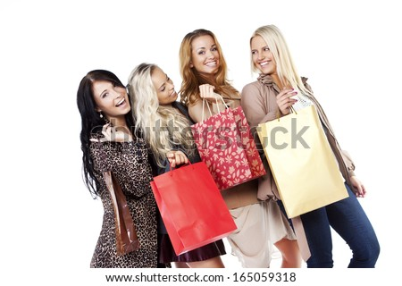 friends are happy after shopping  - stock photo