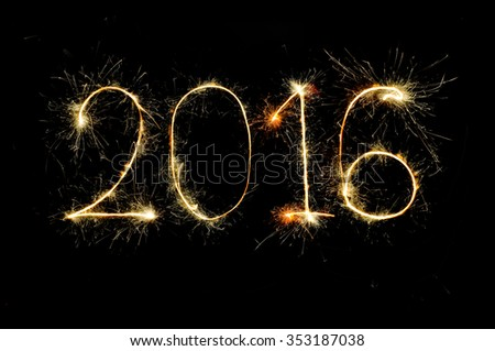 2016 from sparkler on black background - stock photo