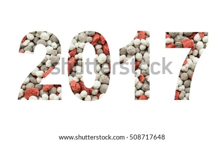2017 from the mineral fertilizers, isolated on the white  background