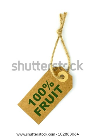 100% Fruit label with green text - stock photo