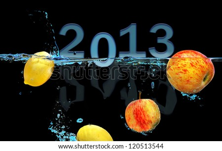 2013 Fruit Water splash Celebration with text space - stock photo