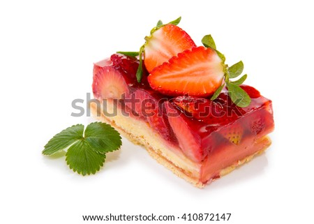 Fruitcake and strawberry isolated.
