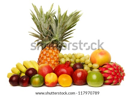 Fruits with Pineapple. The file includes a excellent clipping path, so it's easy to work with these professionally retouched high quality image.