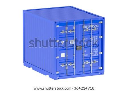 10 ft cargo container isolated on white background - stock photo