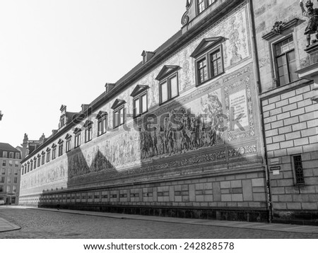 Fuerstenzug meaning Procession of Princes, large mural of a mounted procession of the rulers of Saxony painted in 1871 in Dresden, Germany in black and white