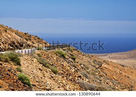 fuerteventura, mountains, canary islands, betancuria, lanzarote, vacation, blue sky, road, holiday destination - stock photo