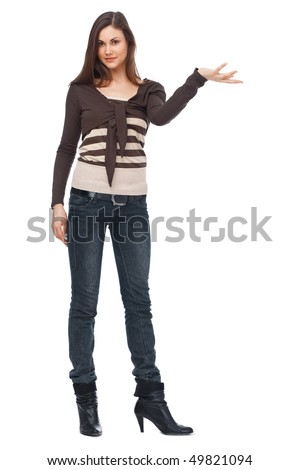Full length of a young Caucasian woman on white - stock photo