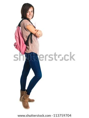 Full length portrait of a beautiful female student - stock photo
