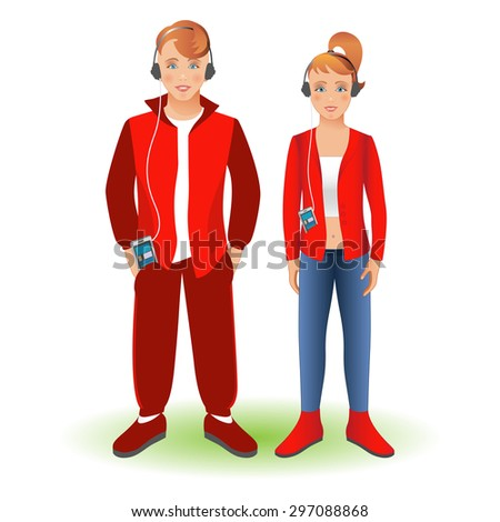 Full length portrait of a happy boy in sportswear and girl,standing and smiling with cellphone and headphones. Family, brother and sister.Set, isolated on white background. - stock photo
