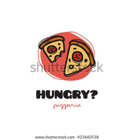 funny doodle style pizza slices logo. Sketchy snack bar and cafe logo - stock photo
