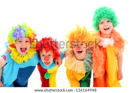 Funny little clowns - stock photo
