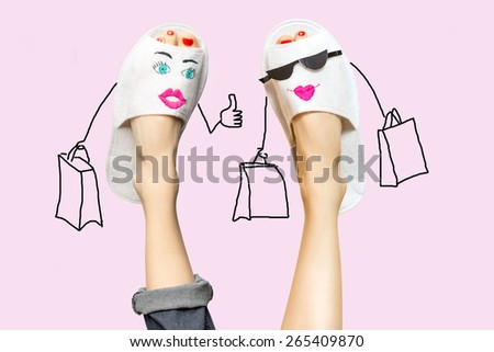 Funny shopping legs woman concept. Dreaming about shopping therapy - stock photo