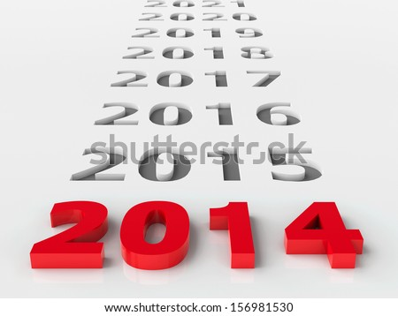 2014 future represents the new year 2014, three-dimensional rendering - stock photo