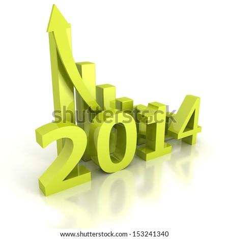 2014 future success bar diagram with growing arrow - stock photo