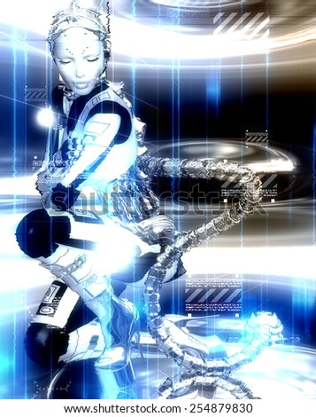 Futuristic robot girl to shows off man's creation of modern machinery and beauty combined. An abstract background of glowing white and blue lights sets the stage for this sci-fi scene. - stock photo
