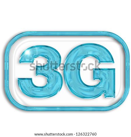 3G blue symbol isolated on white background - stock photo