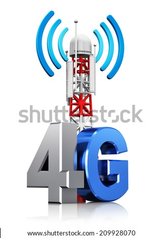 4G digital cellular telecommunication technology and wireless connection business concept: mobile base station or TV transmitter antenna pylon with 4G sign, symbol or logo isolated on white background - stock photo