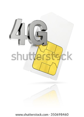 4G icon with mini Sim card isolated on white background - stock photo