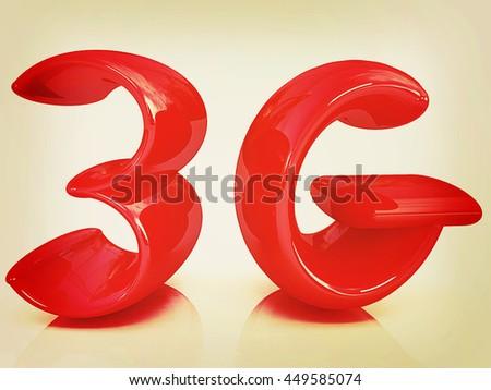 3g internet network. 3d text. 3D illustration. Vintage style. - stock photo