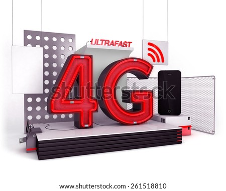 4G mobile connection concept - stock photo