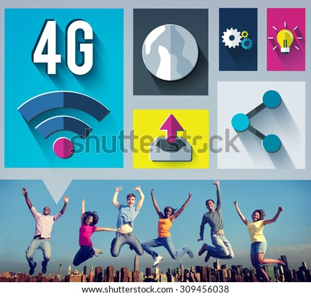 4G Technology Internet Communication Connection Concept - stock photo