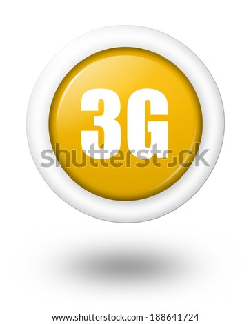3G telecommunication symbol with shadow - stock photo