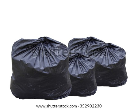 garbage bag isolated on white background. Clipping path. - stock photo