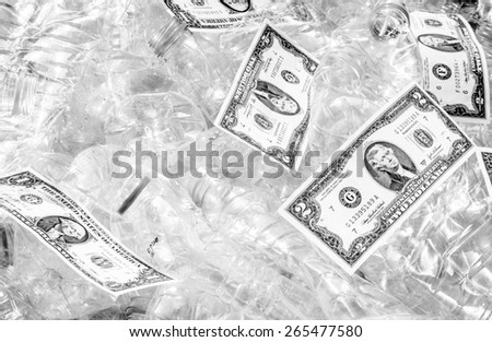 Garbage become to money also save the world .This picture is not flat currency scans or photographs but just put the money on the bottles and press the shutter release,also with black and white color - stock photo