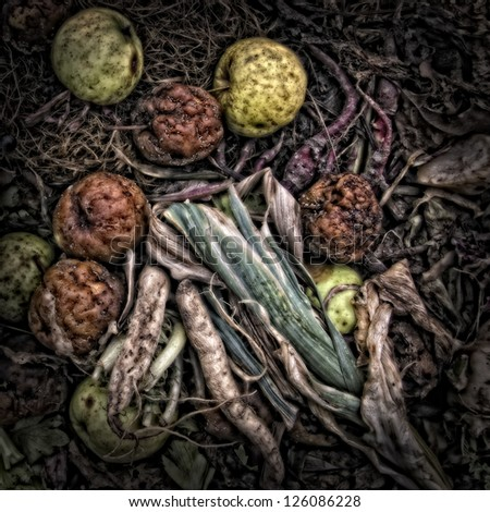 Garden waste on a Compost Heap. Artistically alienated to create a grungy somber atmosphere - stock photo