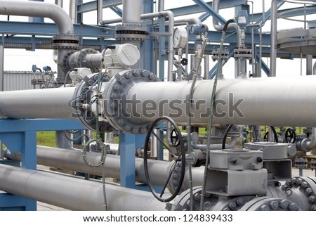Gas equipment, gas valves on a natural gas pipeline.