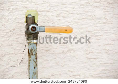 Gas meter in front of the family home - stock photo